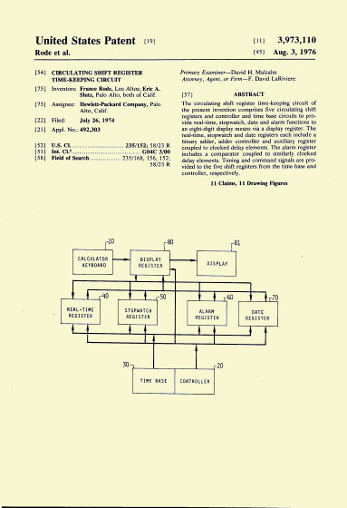 HP-01 Patent Aug. 1976