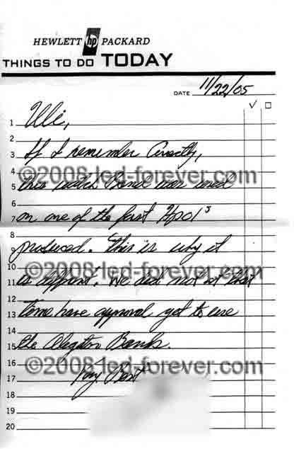 HP-01 prototype letter