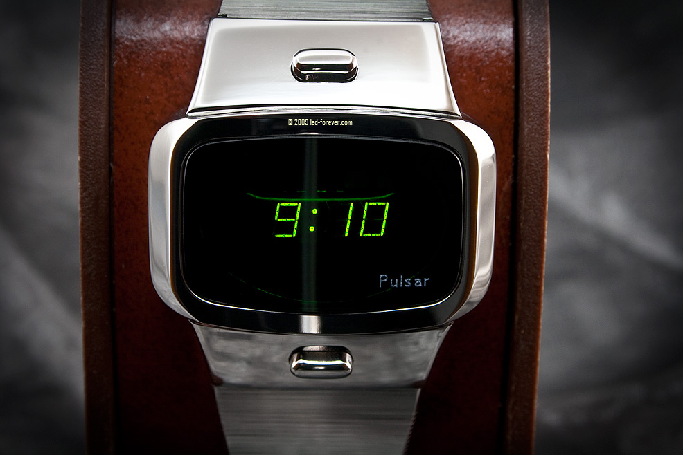 Pulsar green LED watch